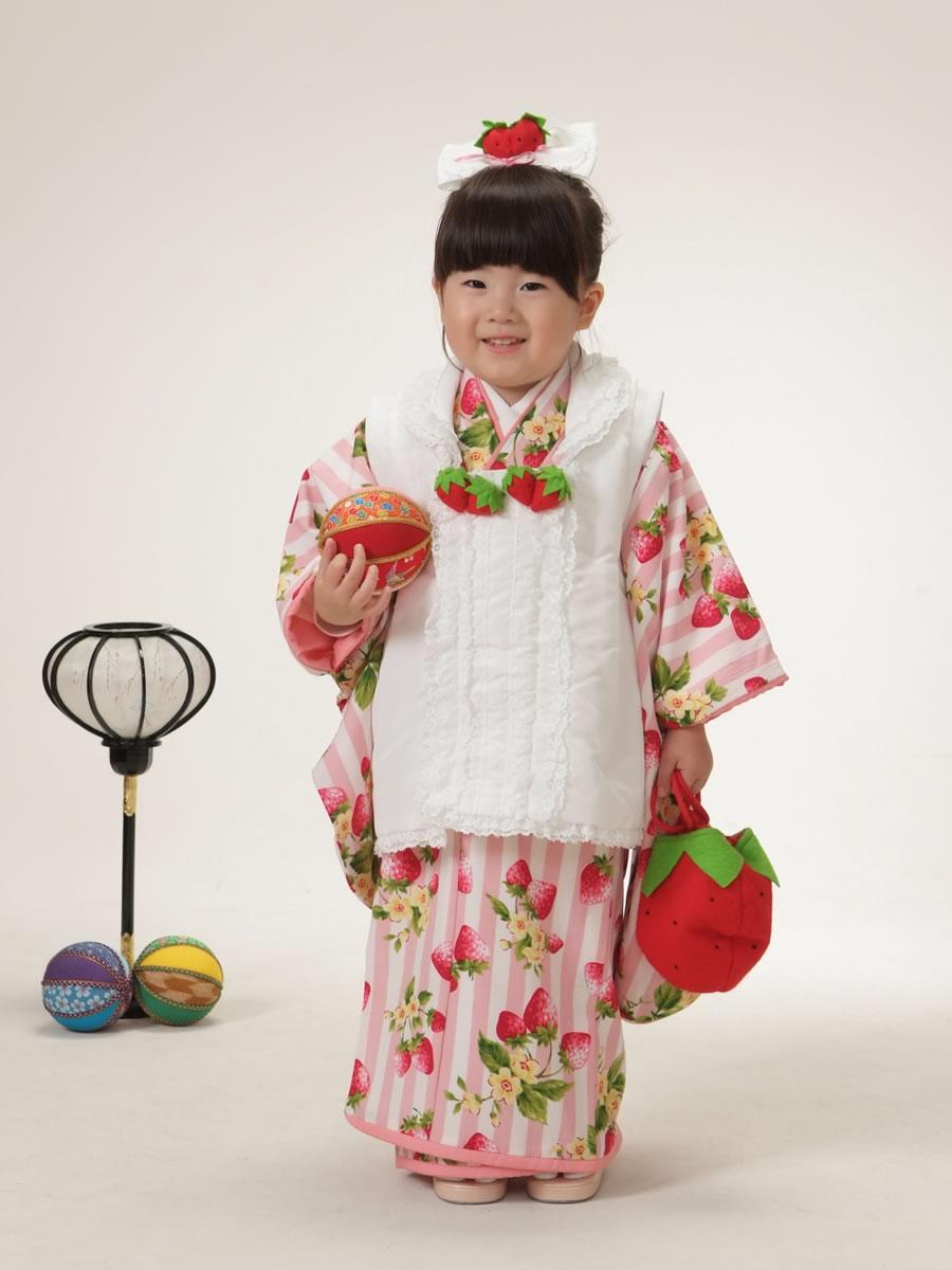 3才女児:被布(益若つばさ):白ピンクいちご