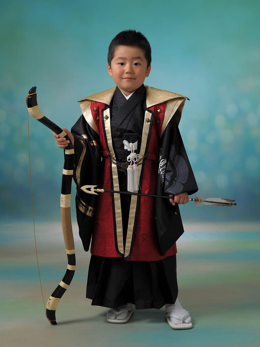 5才男児:紋付袴:シンケンジャー:ブルークロス