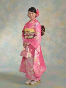 ピンク桜に蝶(ピンク)