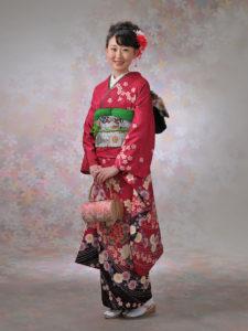 ローズ地牡丹に八重桜(赤)