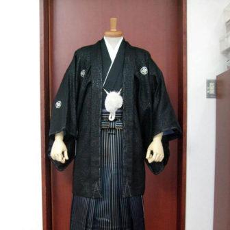 【紋付】クロコ黒×【袴】鳳淋用黒シマ