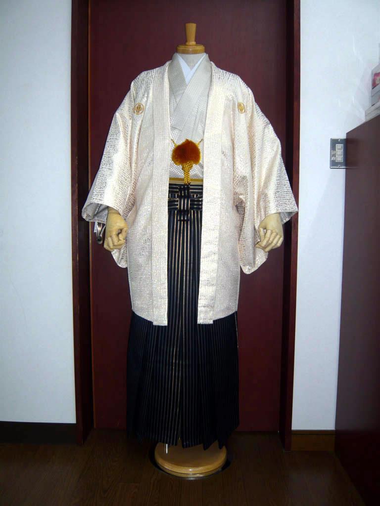 【紋付】クロコ白×【袴】鳳淋用シマ