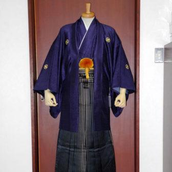 【紋付】パープル皇彩錦×【袴】鳳淋用黒シマ