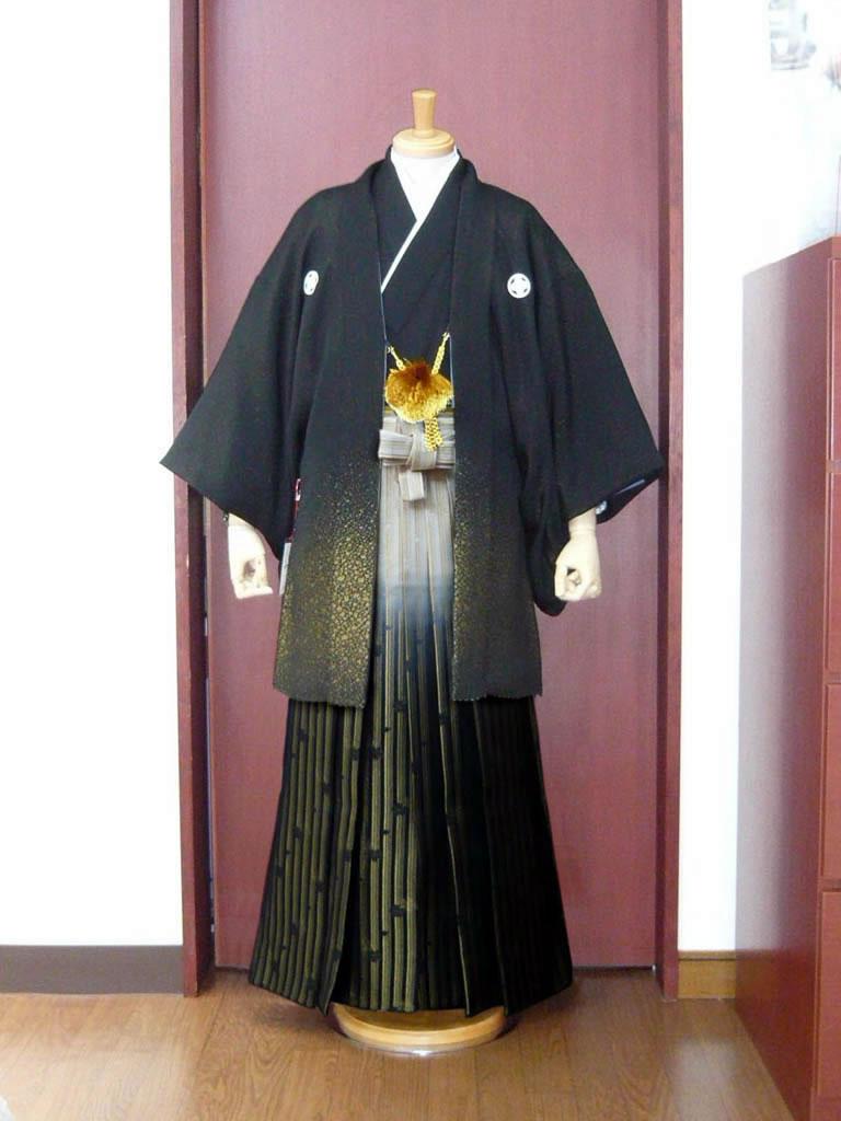 【紋付】黒金×【袴】桜金シマぼかし