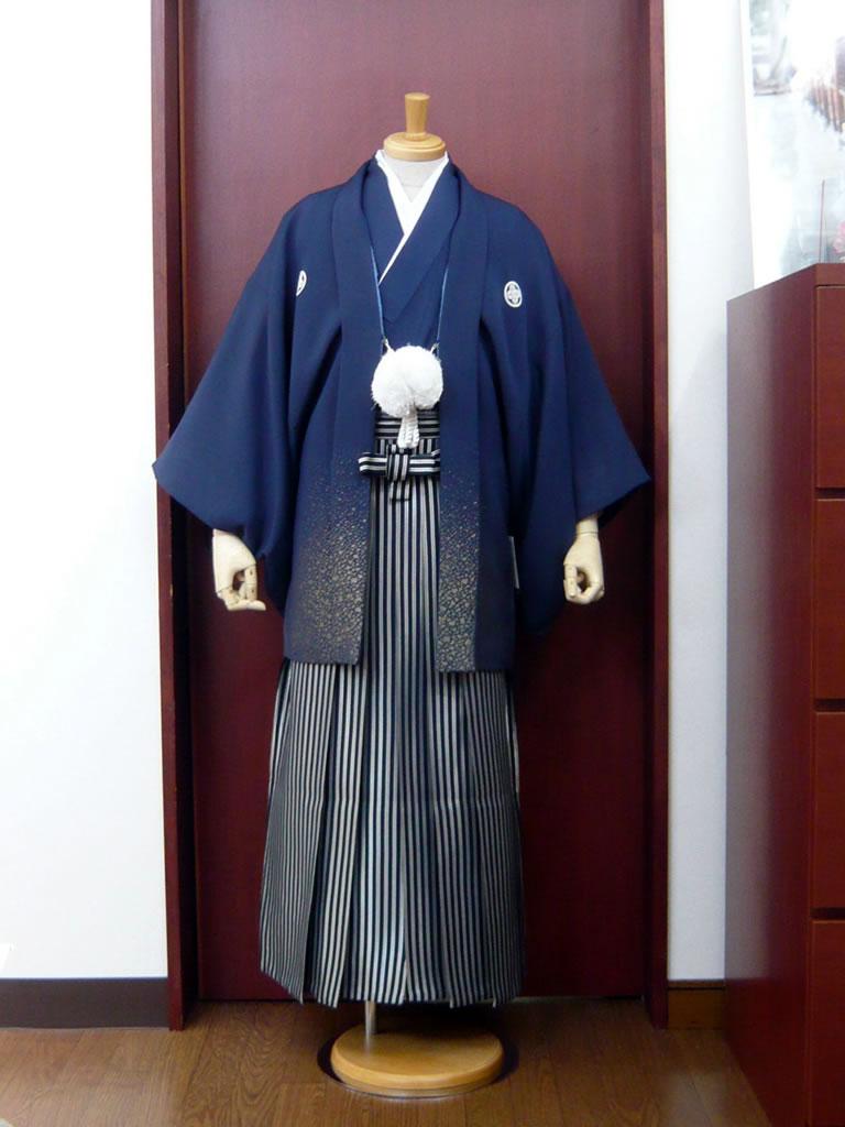 【紋付】紺金×【袴】濃紺シルバー
