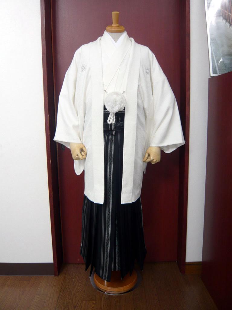 【紋付】白透かし花菱×【袴】黒銀シマ藤