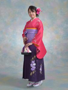 二尺袖 032ワインピンク袖ぼかし花柄×袴 516ラベルズ紫ぼかし刺繍