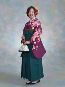 二尺袖 091カンサイ紫花雪輪×袴 002グリーン