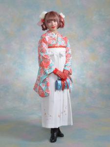 二尺袖 114ナカノヒロミチブルーぼたん×袴 209白桜ちらし