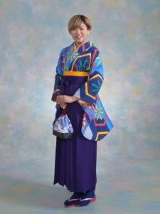 二尺袖 149ブルー亀甲に花火×袴 003紫