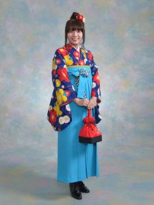二尺袖 九重紺色梅×袴 540ジャパンスタイル水色紐格子