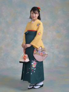 二尺袖040黄しぼり×袴531グリーン花車スワロ付