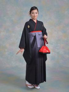 二尺袖049黒地花紋×袴108グレー黒ぼかし