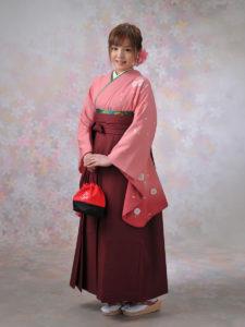 二尺袖050ピンクぼたんに桜×袴004エンジ