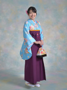 二尺袖099ブルー花まり×袴501kansai紫ししゅう