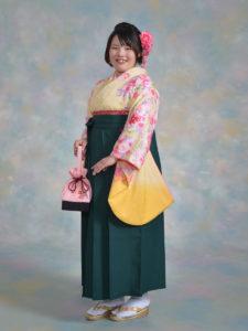 二尺袖111黄花柄×袴002グリーン