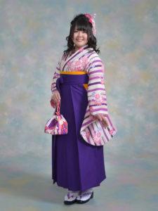 二尺袖118カンサイ白地紫×袴003紫