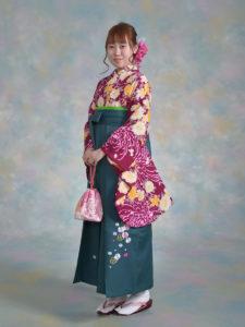 二尺袖123ラベルズ紫黄桜に乱菊×袴543グリーン小花ししゅう