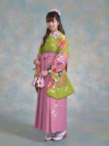 二尺袖130MPキュートヒワ×袴ピンク小桜ししゅう入