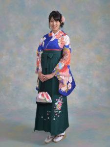 二尺袖131MPキュート紺×袴214モスグリーンししゅう入
