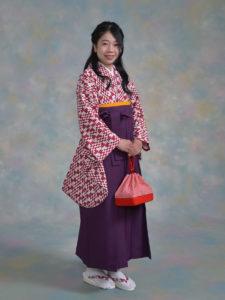 二尺袖135エンジ変わり矢羽根×袴003紫