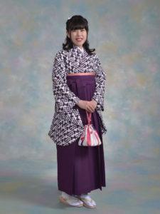 二尺袖136紫変わり矢羽根×袴003紫