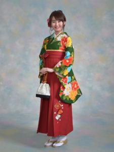 二尺袖147SPAIRAL GIRL緑鞘型椿×袴541九重赤梅ししゅう