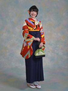 二尺袖150朱赤ダイヤ×袴001紺