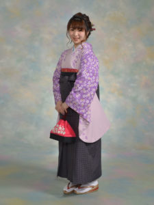 二尺袖053パープル花ふぶき×袴406グレー黒千鳥格子