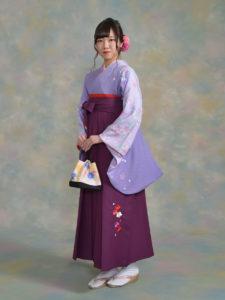 二尺袖059紫桜ちらし×袴501kansai紫
