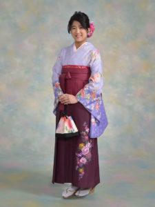 二尺袖089紫綸子花柄×袴504BKワインぼかし刺しゅう