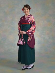 二尺袖091kansai紫花雪輪×袴002グリーン