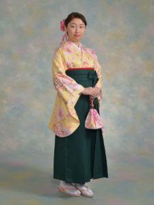 二尺袖101黄花雪輪×袴002グリーン