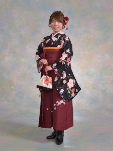 二尺袖107黒大桜×208エンジ刺しゅう入