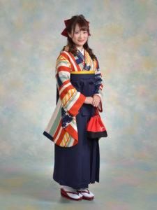 二尺袖127モダンオレンジストライフ×袴001紺