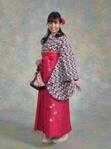 二尺袖136紫変わり矢羽根×袴506ワイン