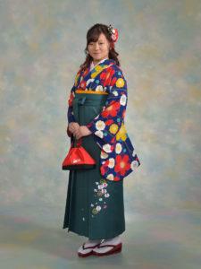 二尺袖146九重紺色梅×袴543グリーン小花刺しゅう