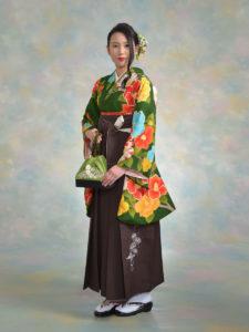 二尺袖147緑鞘型椿×袴510ニコル茶