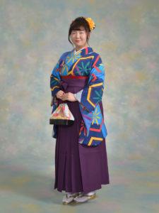 二尺袖149ブルー亀甲に花火×袴003紫
