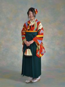 二尺袖150朱赤ダイヤ×袴002グリーン
