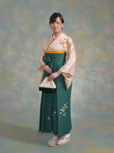 二尺袖ご自分のお着物×袴210グリーン小花ちらし